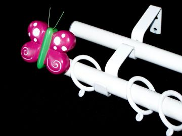 19/19mm Double Layer White Childrens BUTTERFLY Curtain Pole 1.2m 1.5m 2.4m 3m